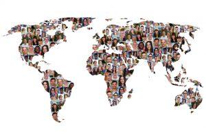 Welt Erde Weltkarte Menschen Leute Gruppe Integration multikulturell Vielfalt Freisteller